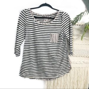 Anthropologie 9h15 stcl stripe button back top